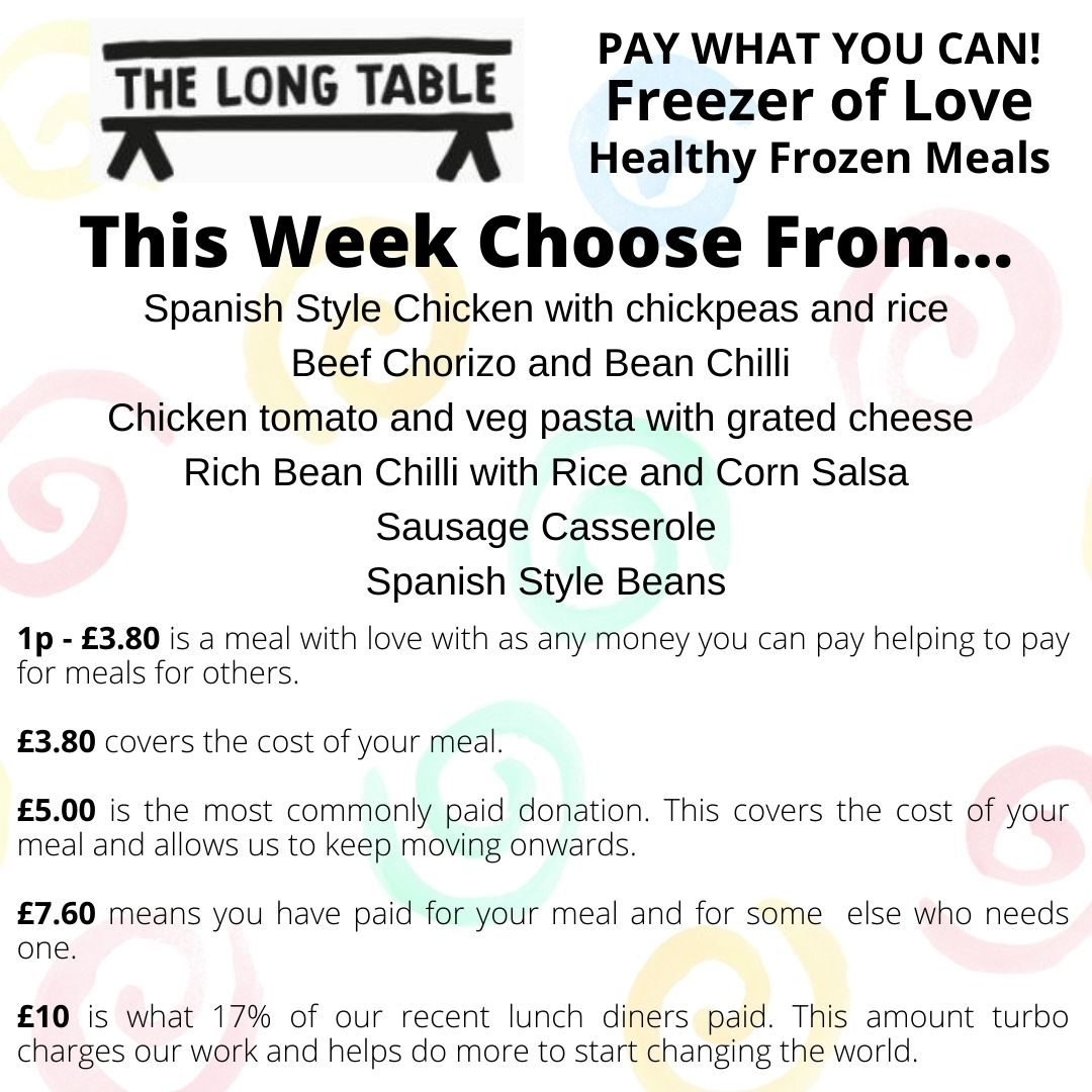 This Week Choose From… Chicken Pie and Mashed Potato Vegetarian Tomato and Veg Pasta with Cheese
