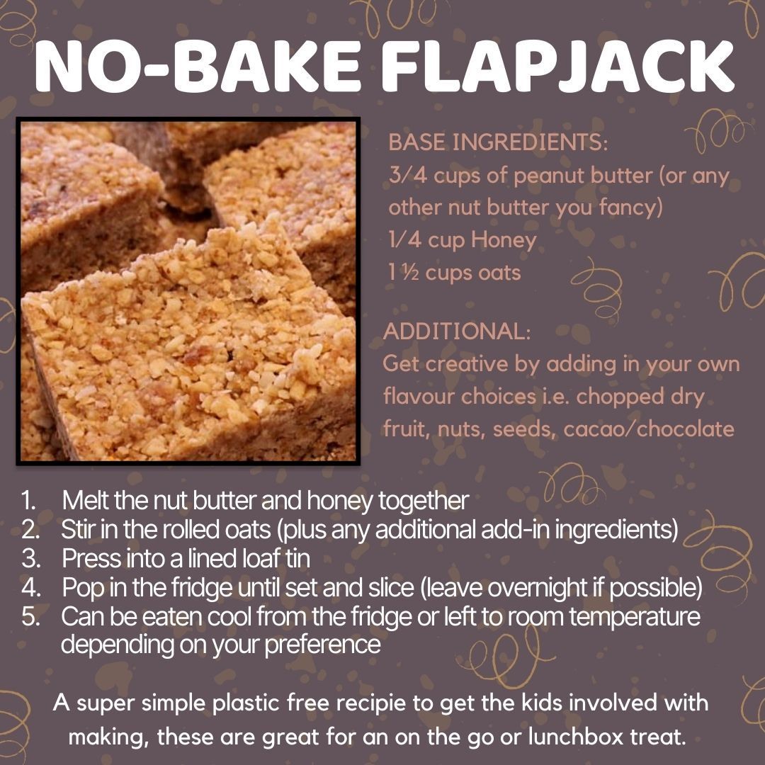 A simple and easy recipe for flapjack that requires no baking time